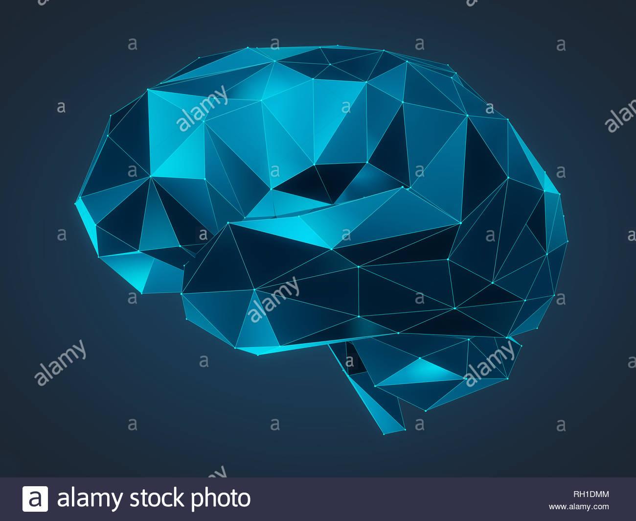 Ilustración 3d de un cerebro humano compuesto de líneas y formas poligonales Imagen De Stock
