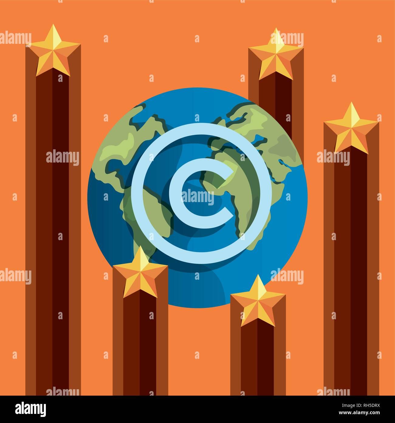Signo de estrellas mundiales de protección de copyright intelectual ilustración vectorial Ilustración del Vector