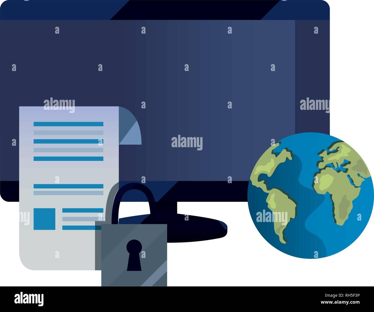 Equipo de seguridad mundial de patentes derechos de autor intelectual de la ilustración vectorial Ilustración del Vector