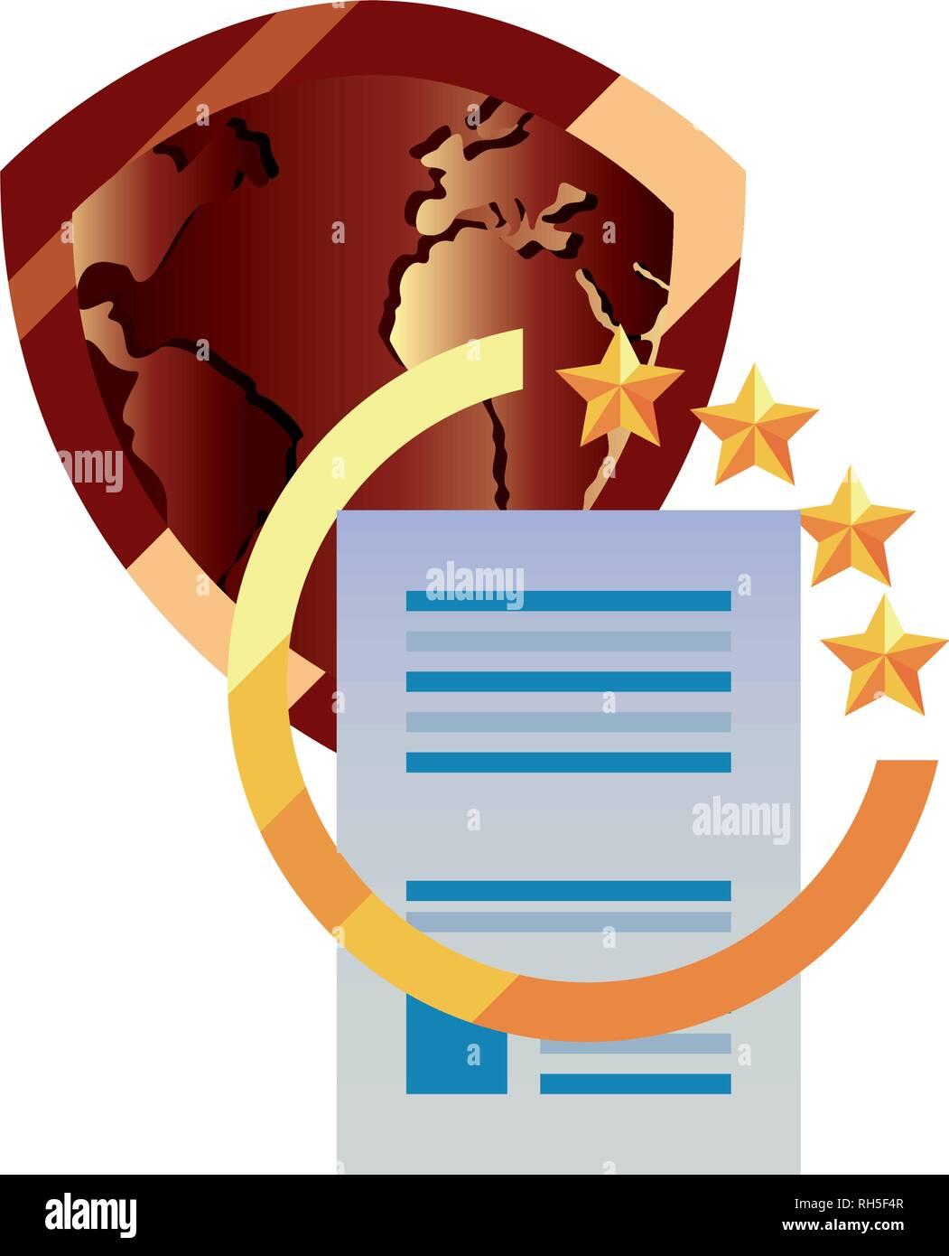 La protección de la propiedad intelectual Derecho de autor mundial de patentes ilustración vectorial Ilustración del Vector