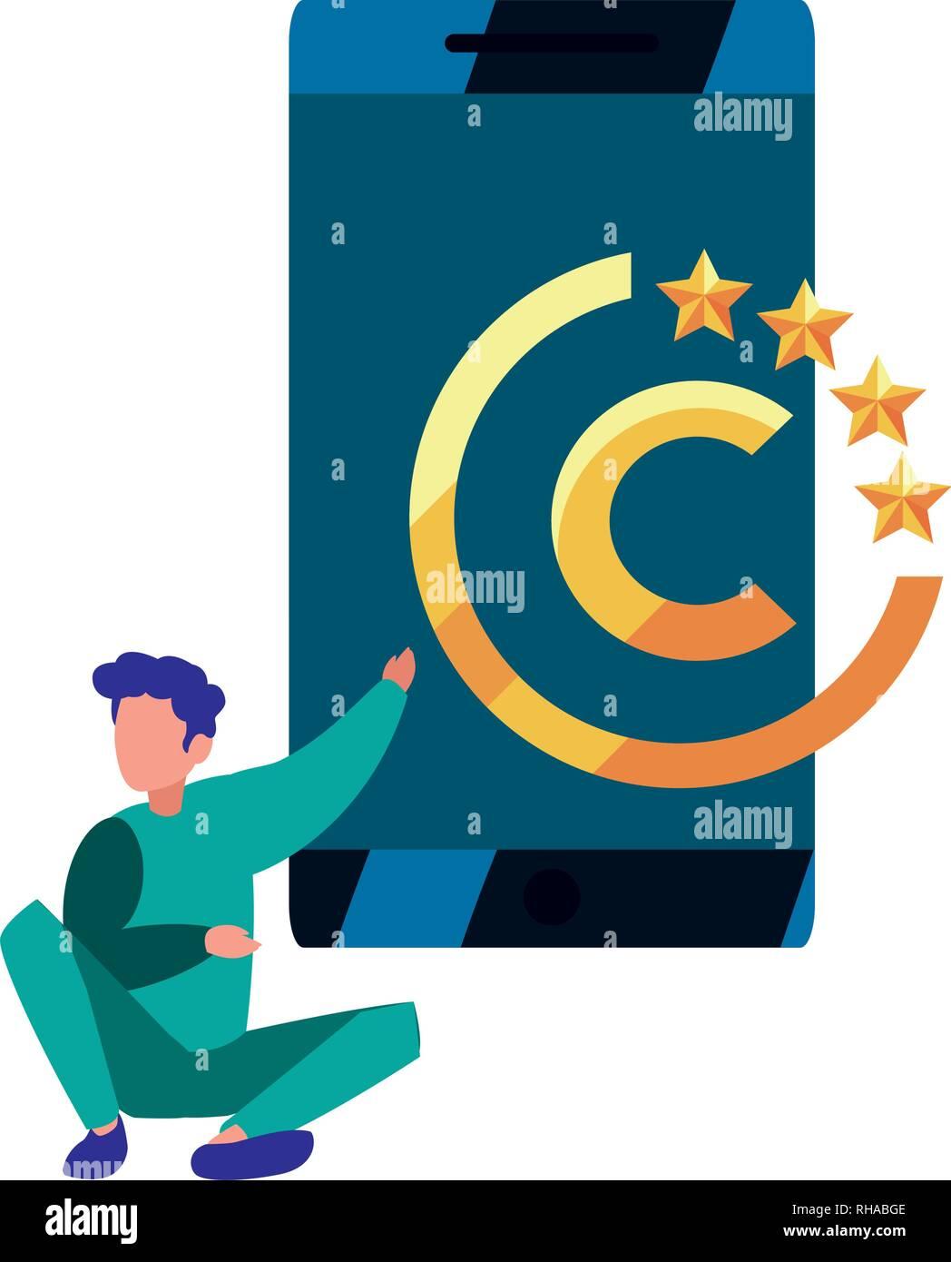 Hombre de negocios móviles digitales copyright ilustración vectorial Ilustración del Vector