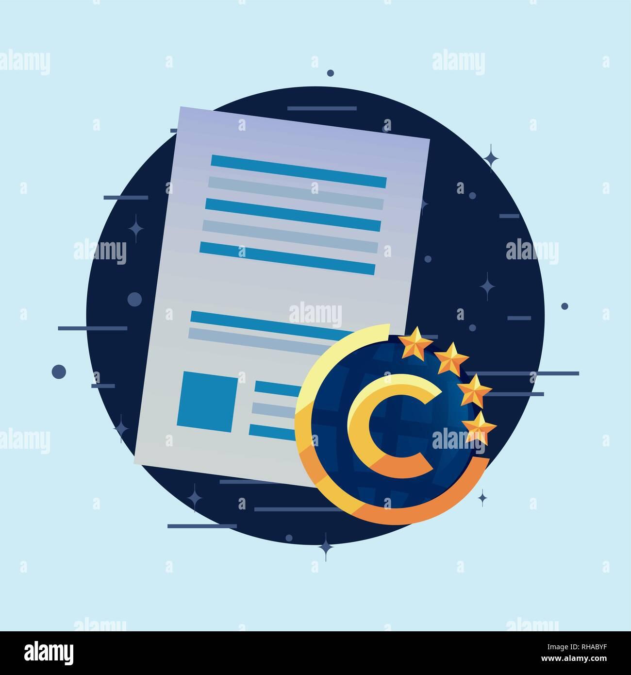 Copyright patentes creatividad autor firmar ilustración vectorial Ilustración del Vector