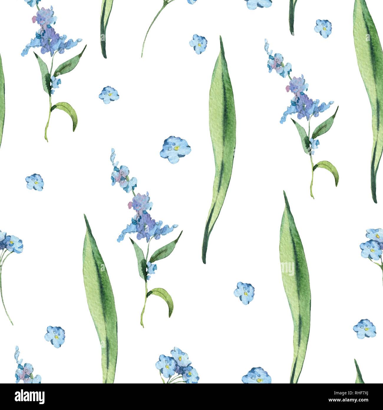 Acuarela Vintage Floral Patron Sin Fisuras Con Flores Azules