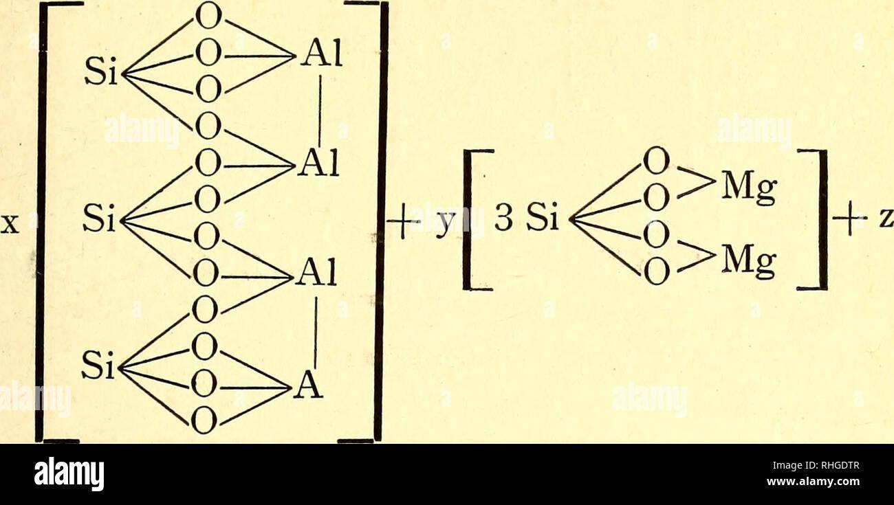 . Boletín de la Sociedad Aragonesa de Ciencias Naturales. Historia natural; la botánica. DE CIENCIAS NATURALES 173 neso y el hidrógeno por el flúor. La fórmula de Tschermack puede simplificarse para ponerse en la forma. + HCT OH mezcla de ortosilicato de alúmina, hexácida ortosilicato pentasilícico magnésico y ácido. Para deducir la fórmula de cualquier especie de mica bastará dar diferentes valores á x, y, z, á, y tener en cuenta que 2 átomos de aluminio pue- den ser sustituidos por 2 de Fe ó por 6 átomos monovalen- tes, 2 átomos de magnesio por 2 átomos tetravalentes del grupo del hierro y que el Foto de stock