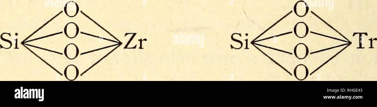 . Boletín de la Sociedad Aragonesa de Ciencias Naturales. Historia natural; Botánica. i66 Sociedad Aragonesa El boro es también capaz de substituir ya por sí solo tres átomos de hidrógeno, como sucede en la represa y Axinita- burita, ya uno solo cuando la ONUDI al oxígeno forma el radi- cal borilo monovalente (BO)' en cuya forma se encuentra en las turmalinas. Silicatos de elementos tetravalentes. Un átomo de cualquier metal de este grupo remplaza los cuatro hidró- genos oxidrílicos del ácido ortosilícico dando lugar á ortosi- licatos neutros de los que son tipo el de zirconio y Thorio. Este último rara Imagen De Stock