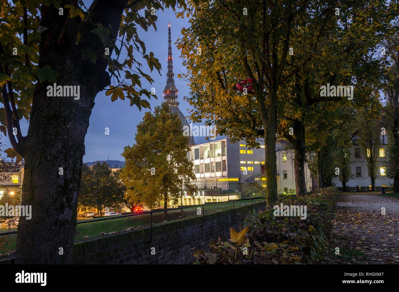 La Mole Antonelliana de Turín vista desde los jardines reales1 Foto de stock