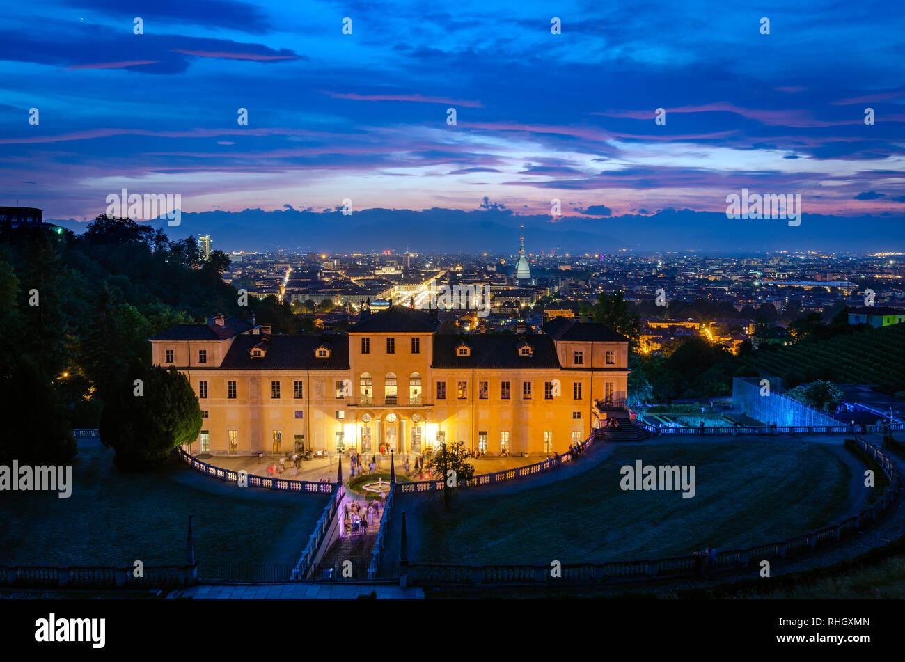 Turín horizonte desde Villa della Regina Foto de stock