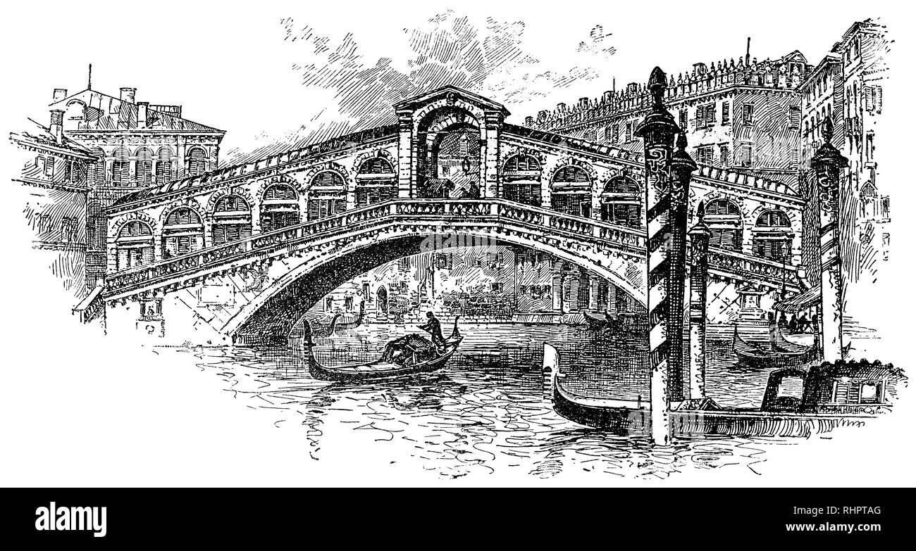 1902 Ilustración del Puente de Rialto de Venecia. Imagen De Stock
