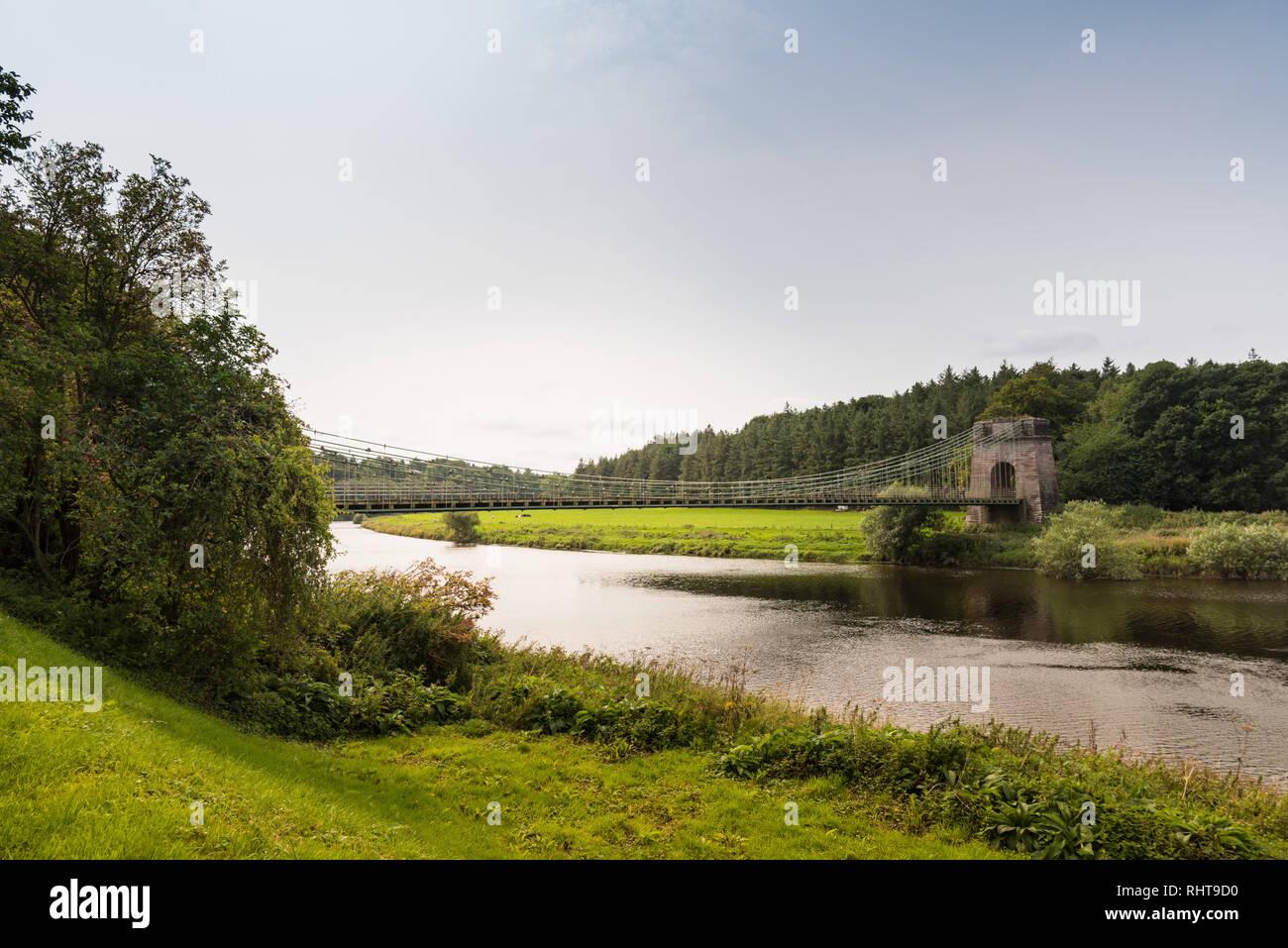 El Puente de la cadena europea, Northumberland, Reino Unido Imagen De Stock