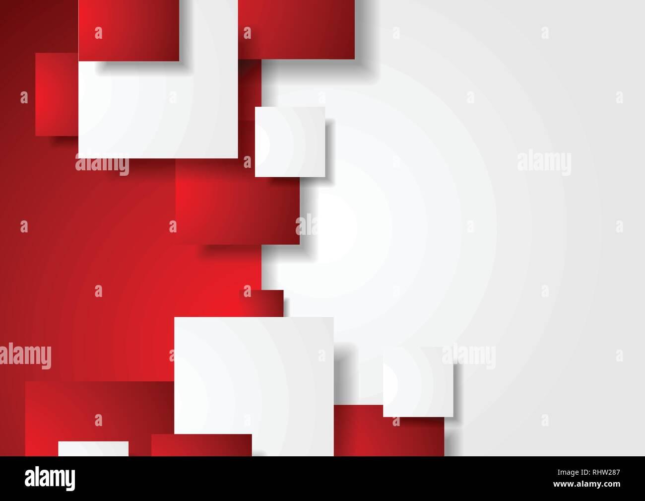 Rojo Y Blanco Abstracto Concepto De Fondo Vector Tech