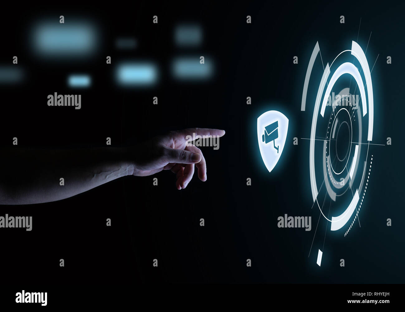 Sistema de seguridad holograma táctil Digital Concepto de tecnología de interfaz de usuario Foto de stock