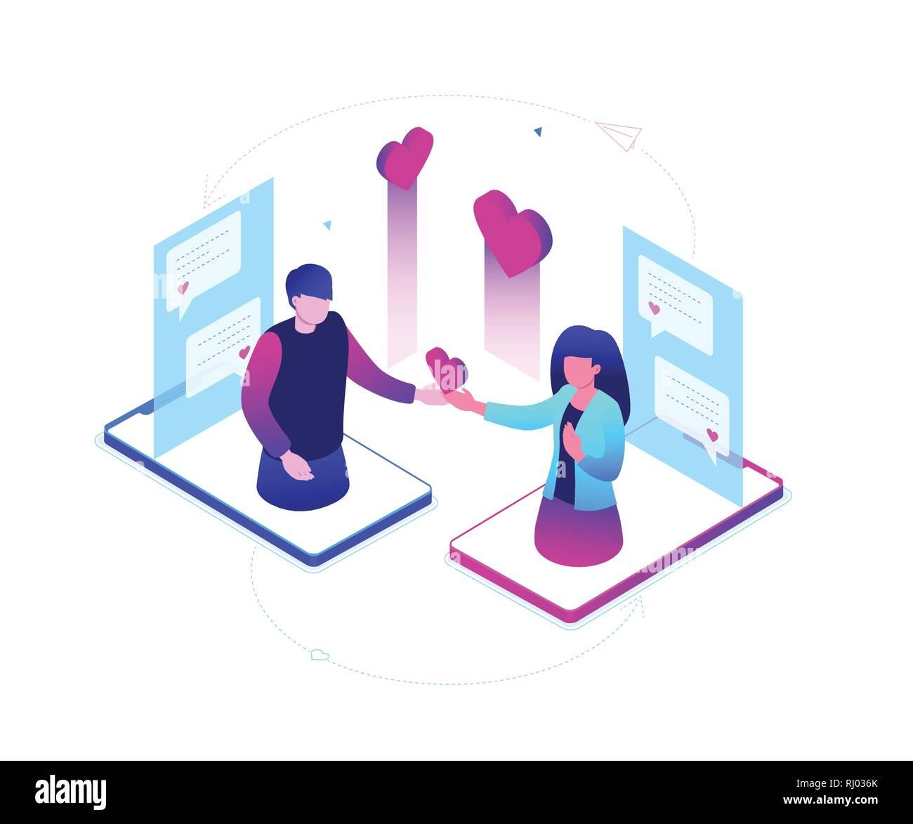 Dating online - moderno colorido isométrica ilustración vectorial Ilustración del Vector