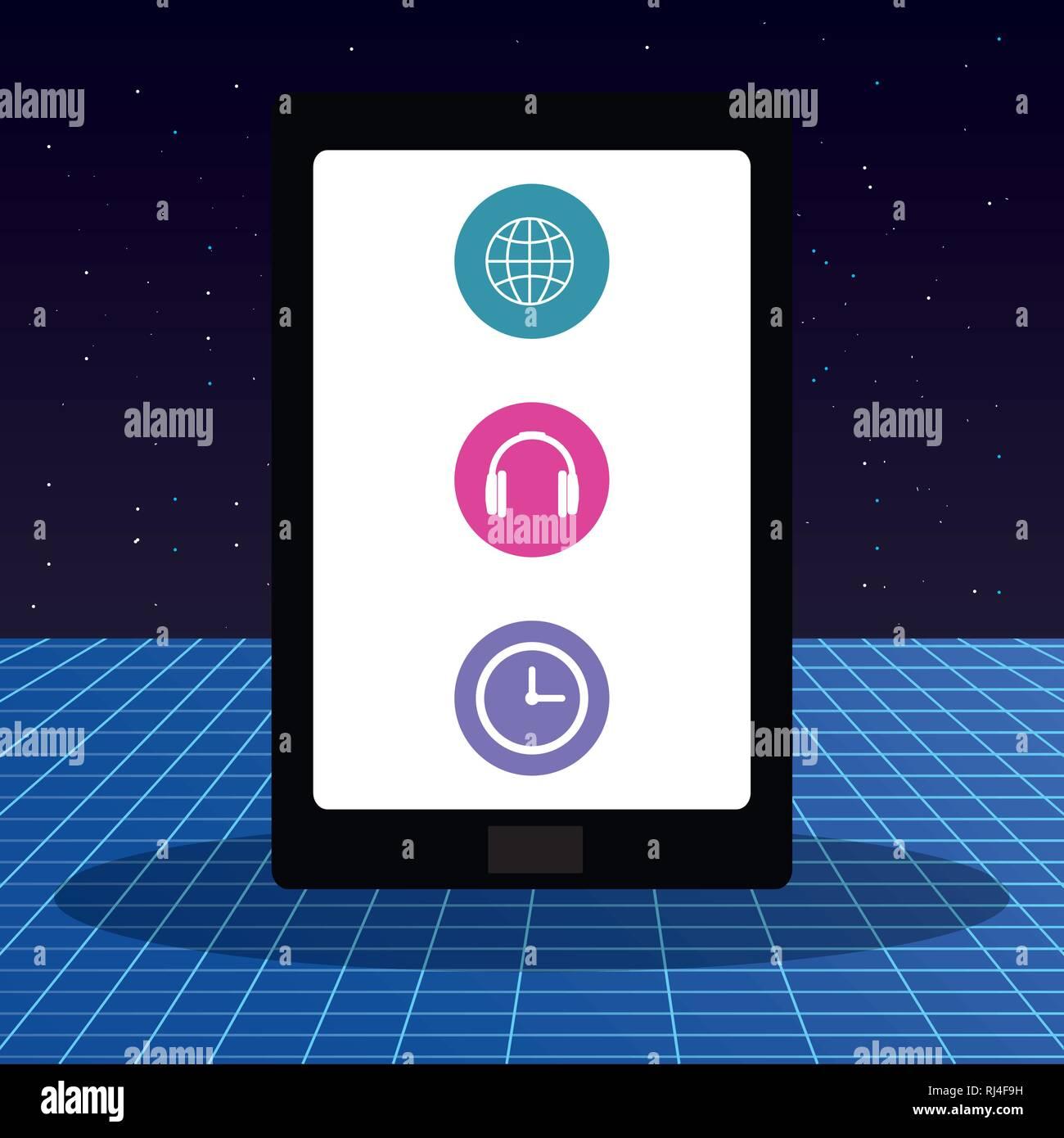 Tablet con menú de aplicaciones, diseño de ilustraciones vectoriales Imagen De Stock