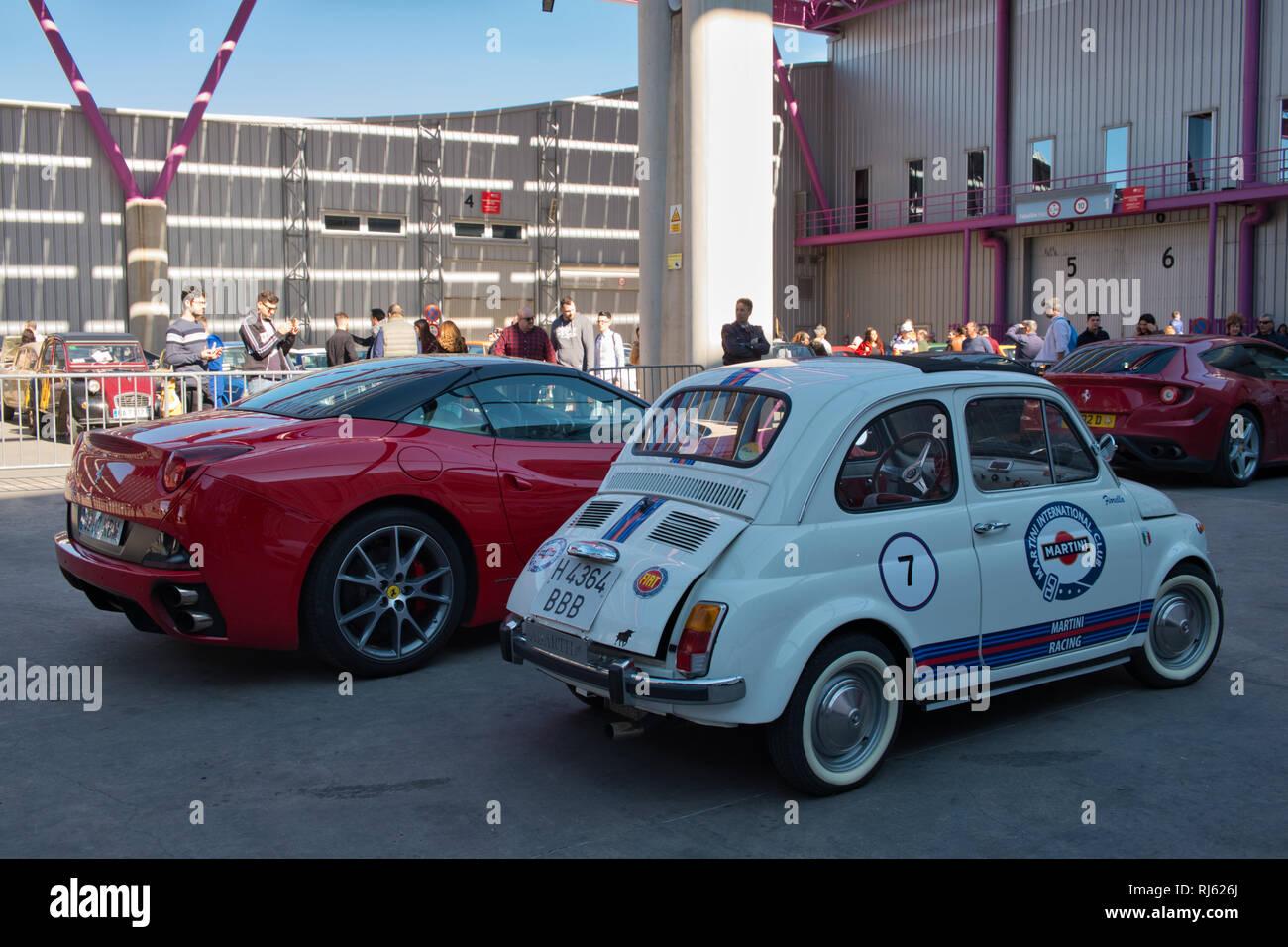 Fiat 500 Abarth Martini Racing. Retro Málaga 2019. España. Foto de stock