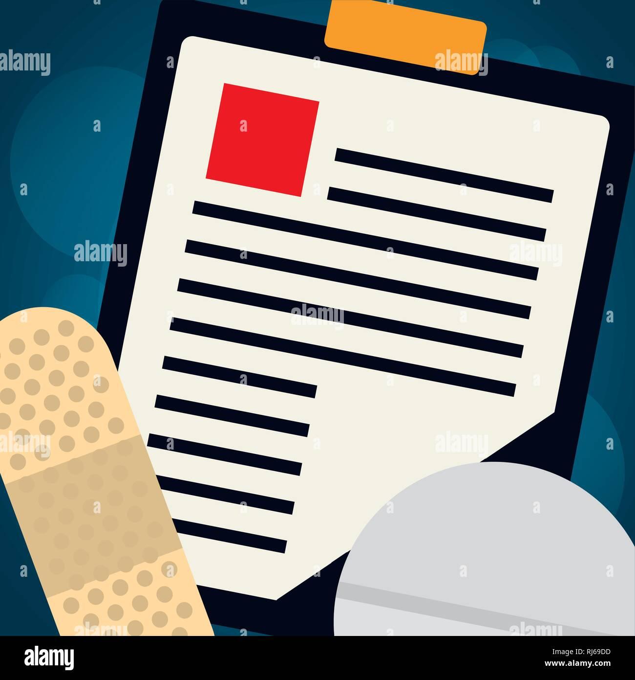 a246a7278 Lista de comprobación de orden médico con pastillas de drogas de diseño ilustración  vectorial
