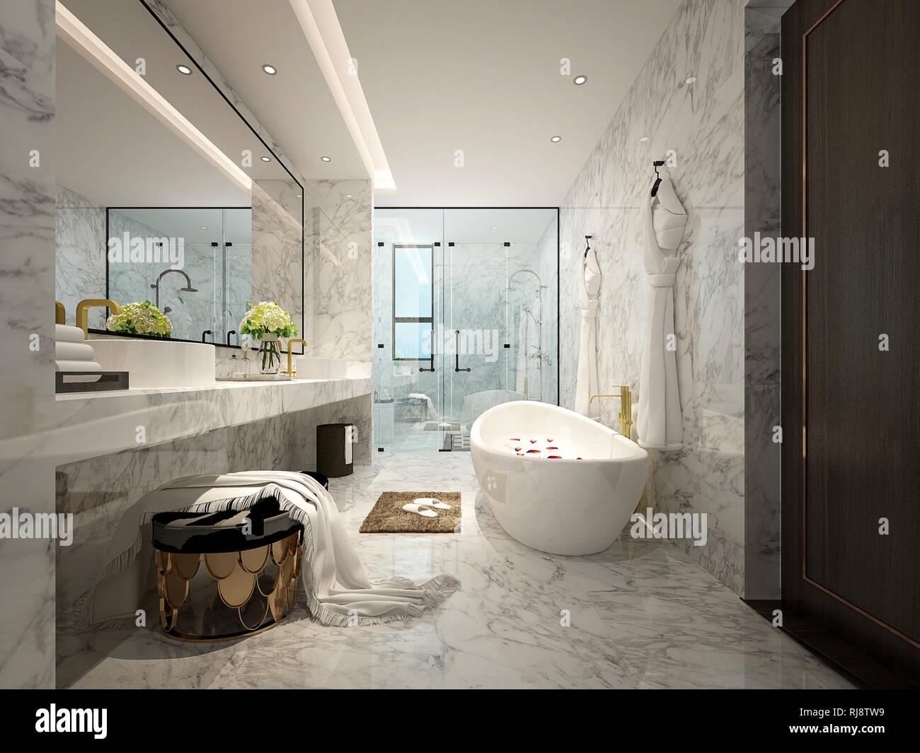 3D Render cuartos de baño de lujo Foto & Imagen De Stock ...