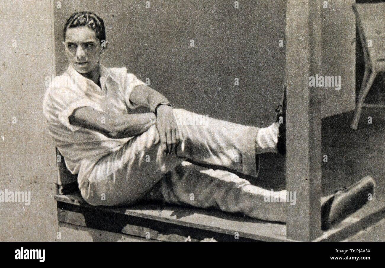 Una fotografía de Bill Carr (1906-1966) fue un favorito de los 400 m de oro en los Juegos Olímpicos de Verano de 1932. Carr tuvo la victoria por 46.2 segundos hablando de oro y estableciendo un nuevo récord mundial. Fecha Siglo XX Foto de stock