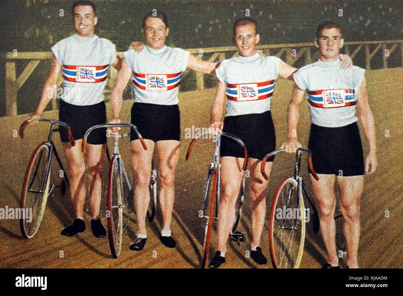 Fotografía de Gran Bretaña en su búsqueda de equipo en los Juegos Olímpicos de 1932. (De izquierda a derecha) Charles Holland (1908 - 1989), William Frank Southall (1904 - 1964), William Gladstone Harvell (1907 - 1985) y Ernest Alfred Johnson (1912 - 1997). Foto de stock