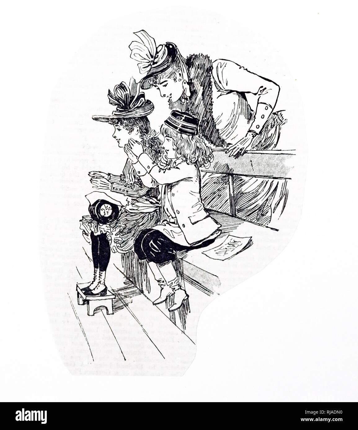 Un grabado representando a niños franceses en el circo, uno de los espectáculos tradicionales en Navidad. Ilustrado por Ethel Marte (1876-1959) de un grabado en madera Americana artista e ilustradora de libros para niños. Fecha del siglo XIX Imagen De Stock