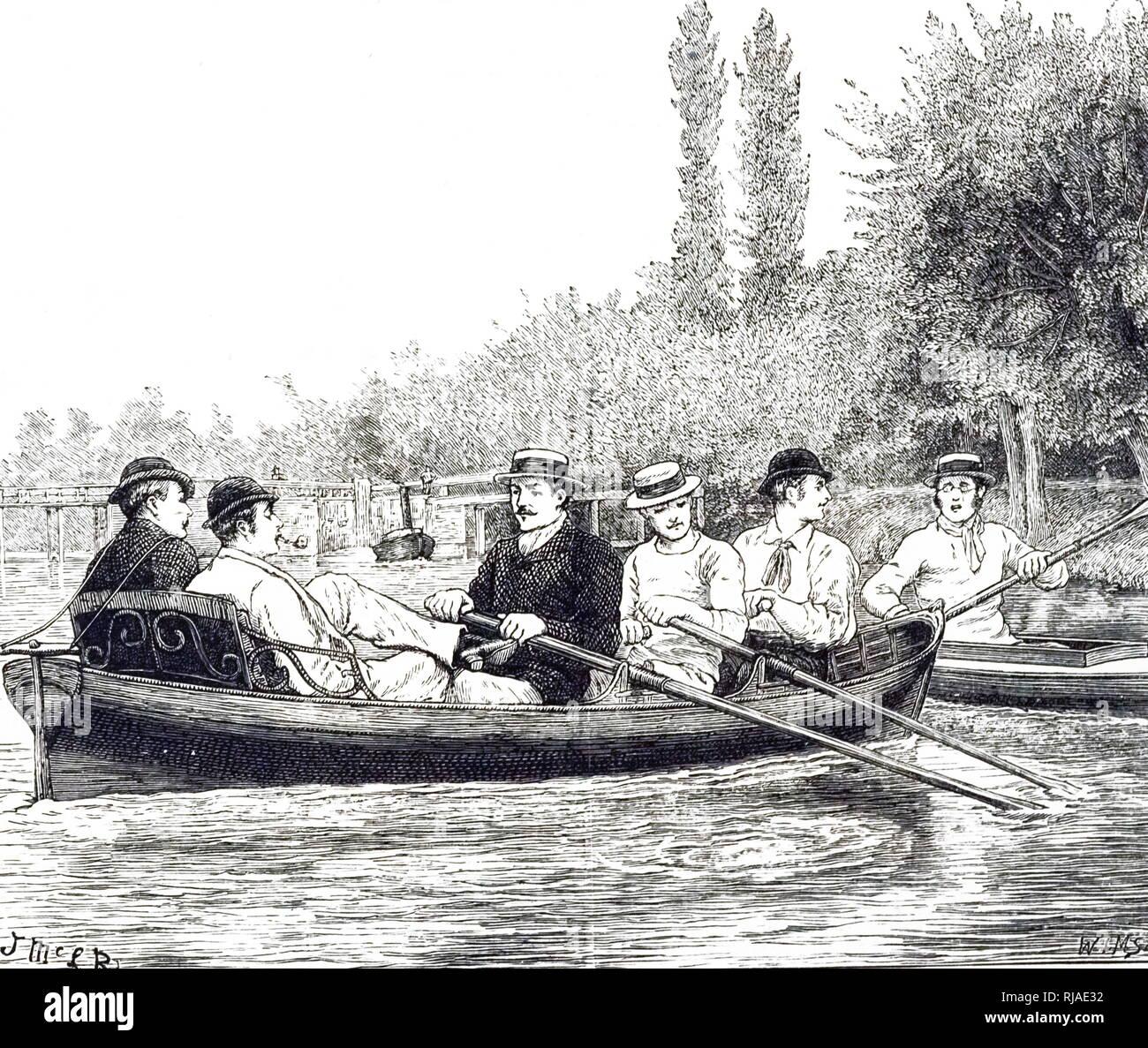 Ilustración mostrando Oxford alumnos en prácticas para la raza de barco, 1879. El barco es una carrera de remo anual carrera entre el Boat Club de la Universidad de Oxford y Cambridge University Boat Club, remaba entre hombres y mujeres del abrir-weight ochos sobre el Río Támesis en Londres, Inglaterra. También es conocida como la raza y el barco de la Universidad de Oxford y Cambridge Boat Race. Los hombres de la raza se celebró por primera vez en 1829 y se ha celebrado anualmente desde 1856, excepto durante la Primera y Segunda Guerras Mundiales. Imagen De Stock