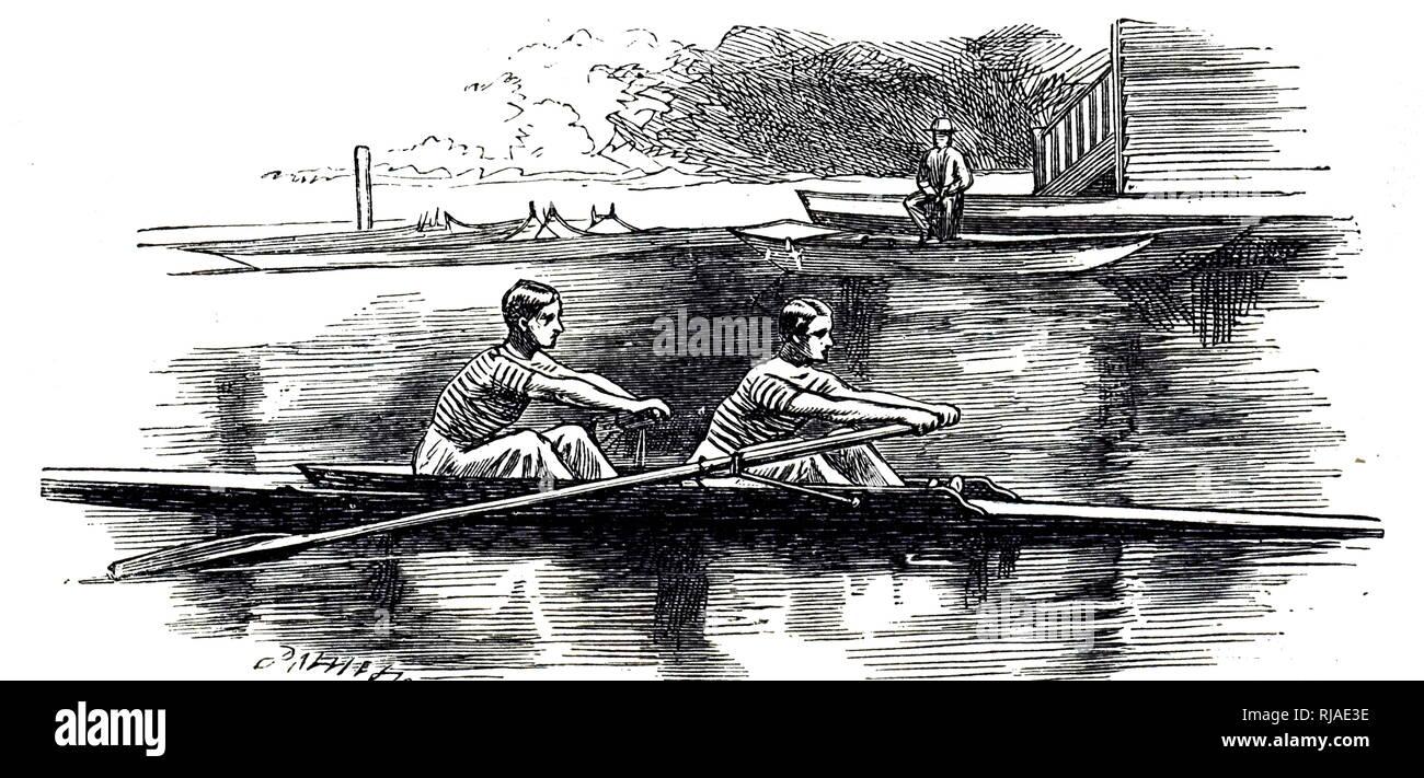 Ilustración que muestra a los estudiantes en prácticas para la raza de barco, 1895. El barco es una carrera de remo anual carrera entre el Boat Club de la Universidad de Oxford y Cambridge University Boat Club, remaba entre hombres y mujeres del abrir-weight ochos sobre el Río Támesis en Londres, Inglaterra. También es conocida como la raza y el barco de la Universidad de Oxford y Cambridge Boat Race. Los hombres de la raza se celebró por primera vez en 1829 y se ha celebrado anualmente desde 1856, excepto durante la Primera y Segunda Guerras Mundiales. Imagen De Stock