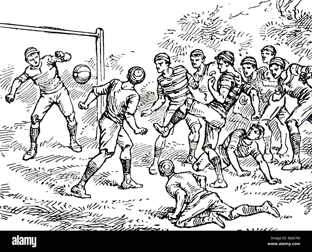 Ilustración que muestra un juego de fútbol asociación. 1895 Imagen De Stock