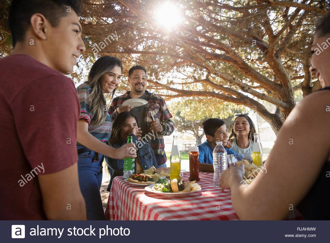 Familia Latinx disfrutando un almuerzo de barbacoa en el parque Foto de stock