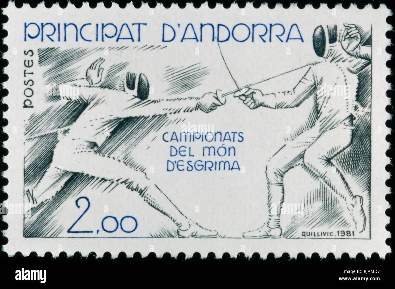 Andoran estampilla conmemorando el campeonato mundial de esgrima 1982 Imagen De Stock