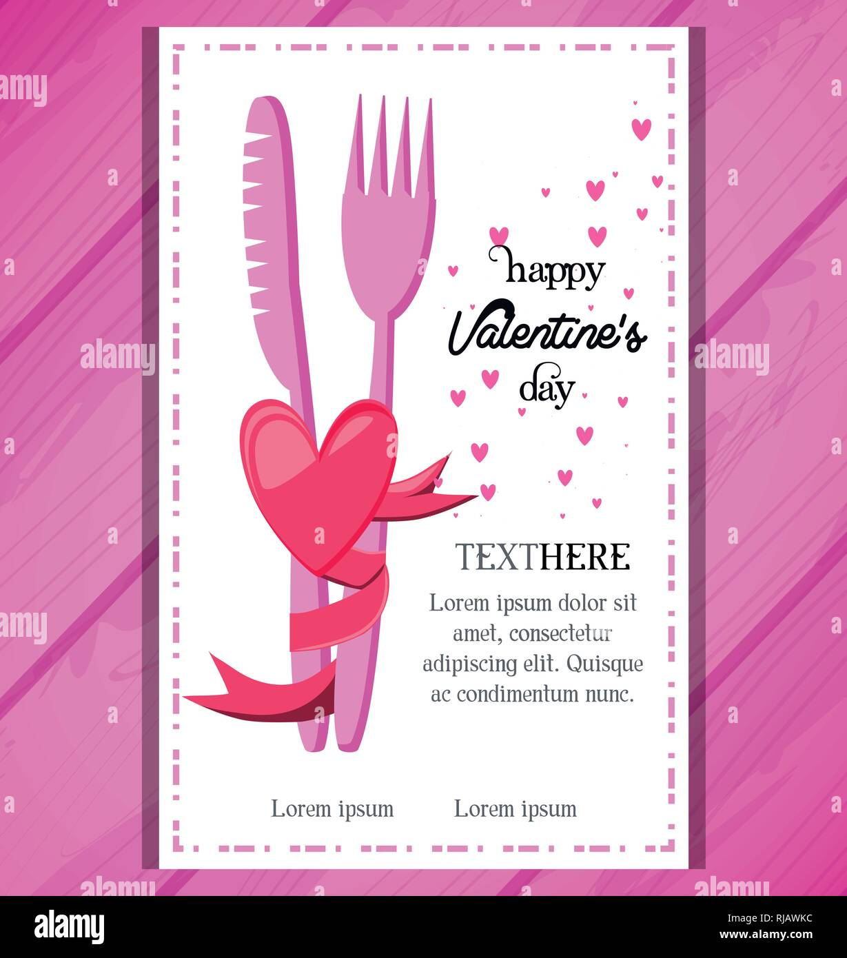 Tarjeta Del Día De San Valentín Con Cena Invitación Diseño