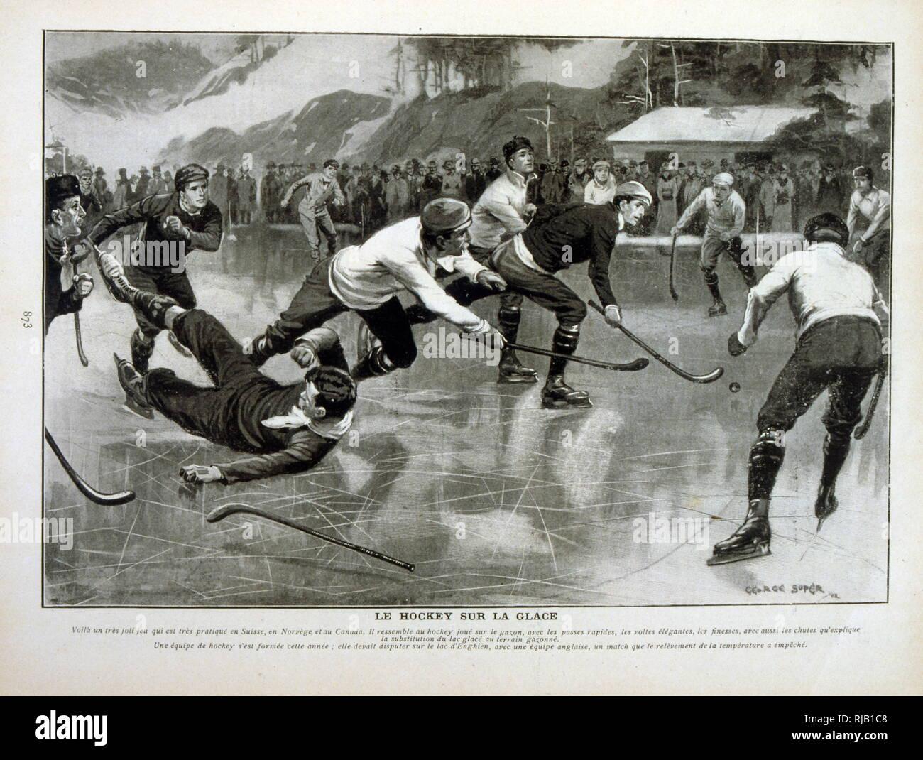 Coincidencia de hockey sobre hielo en Suiza entre Noruega y el Canadá 1902 Imagen De Stock