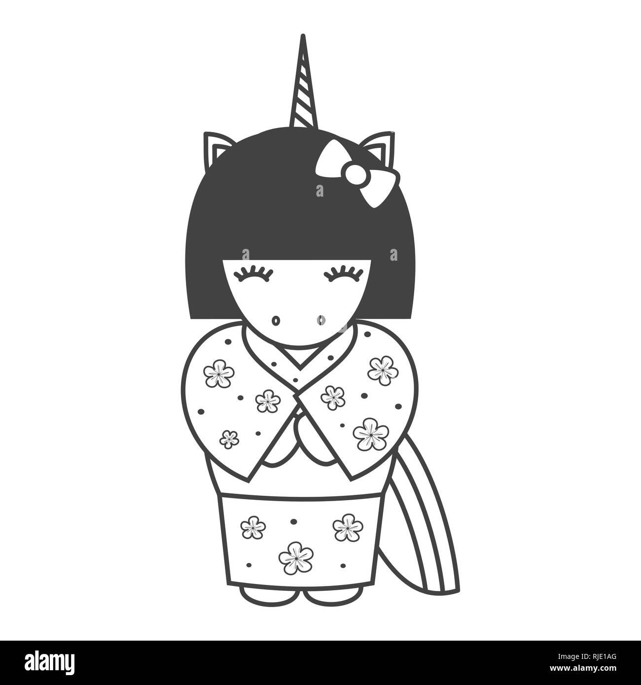 Cute Adorable Caricatura En Blanco Y Negro Unicorn Geisha Para