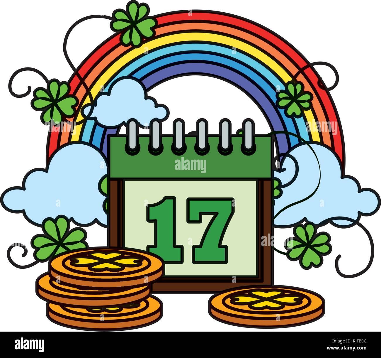 Calendario Rainbow.Monton De Monedas Con Calendario Y Rainbow Ilustracion Del