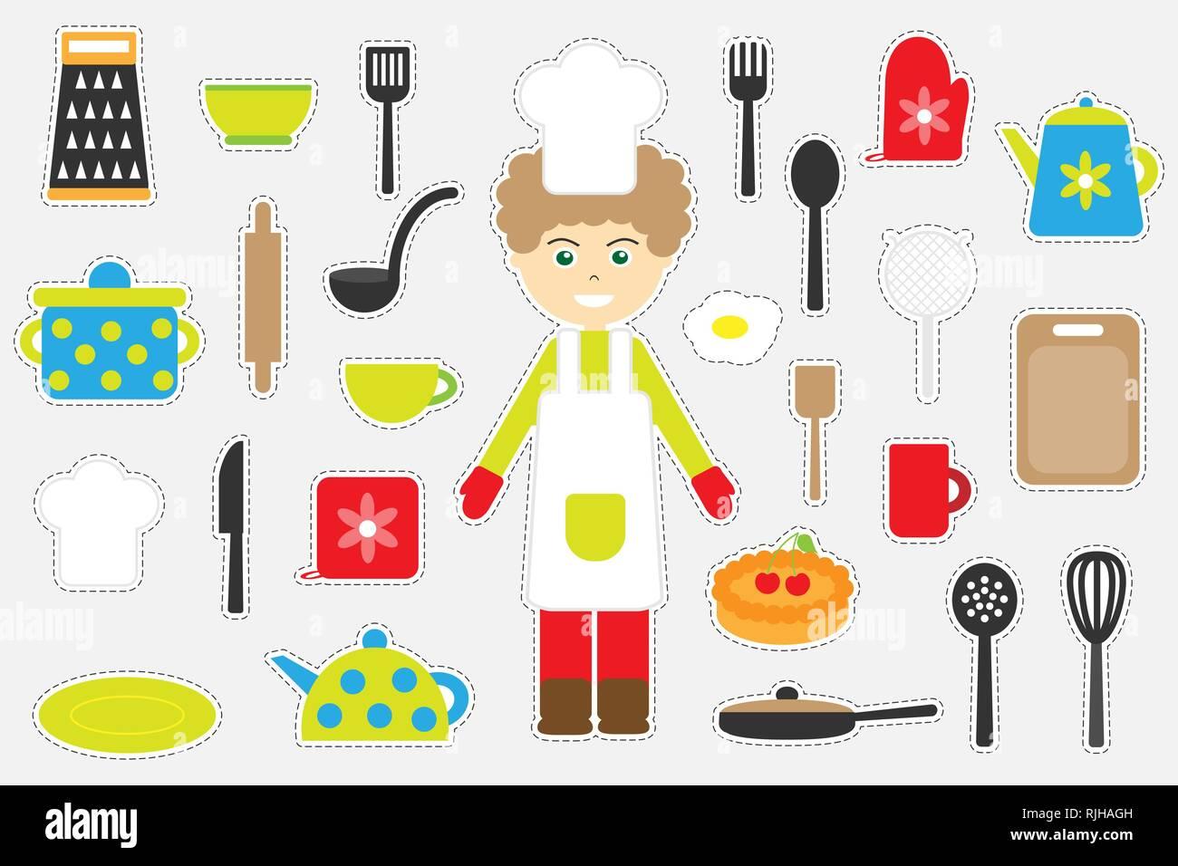 Colorido Diferentes Imágenes De Cocina Para Niños, Divertido Juego Para  Niños De Educación Preescolar, Actividad, Conjunto De Pegatinas, Vector