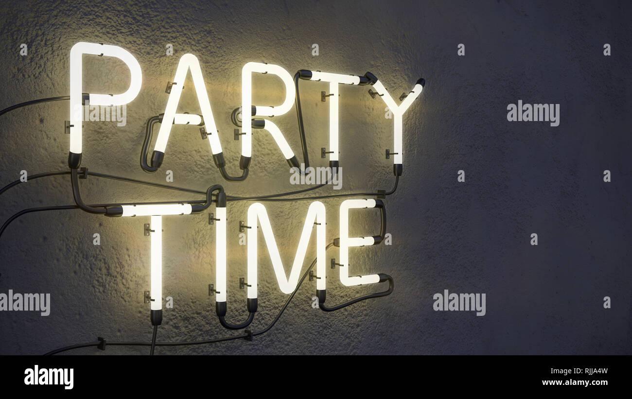 Party Time cartel de neón en el muro de hormigón antecedentes 3D Rendering Foto de stock