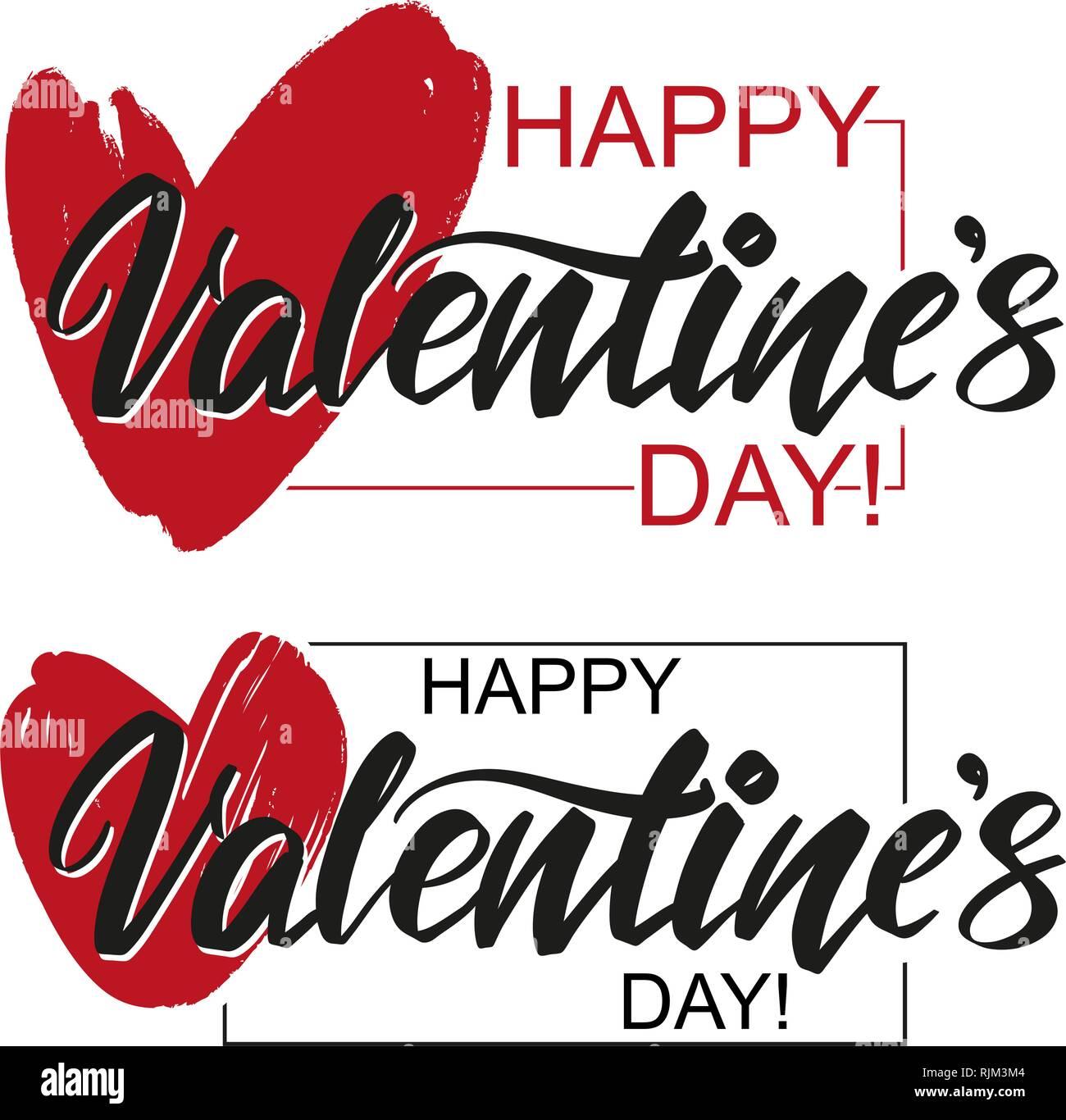 Feliz Día de San Valentín de texto en el fondo del corazón sobre fondo blanco. , El Día de San Valentín, tarjetas de felicitación de vector dibujados a mano ilustración sketch Imagen De Stock
