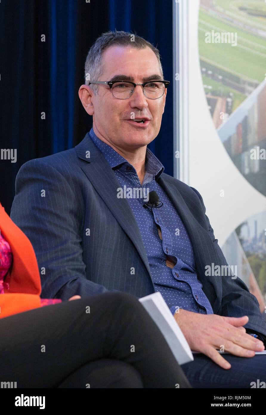 Australia Virgen CEO Paul Scurrah hablando en un evento de negocios en Sidney, 2018. Imagen De Stock