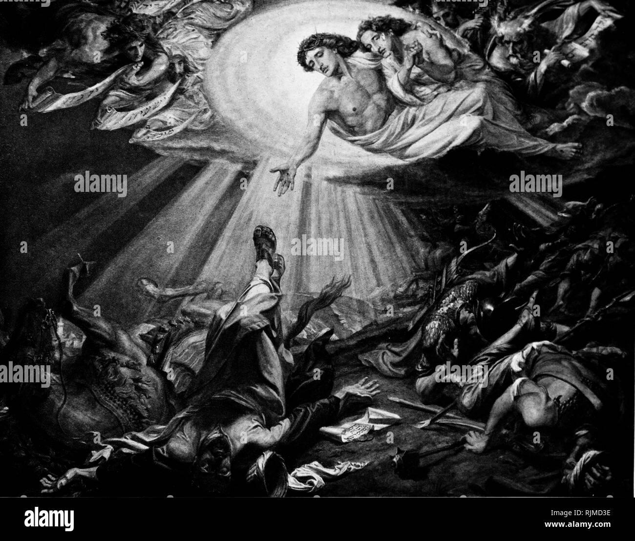 Ilustración que muestra la conversión de Saulo de Tarso (San Pablo en el camino de Damasco). Después de pintar por Federico Shields Imagen De Stock