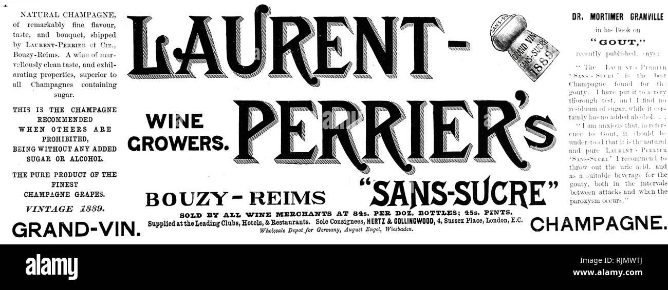 Un anuncio para 'Laurent Perrier's Wine. Fecha del siglo XIX Imagen De Stock