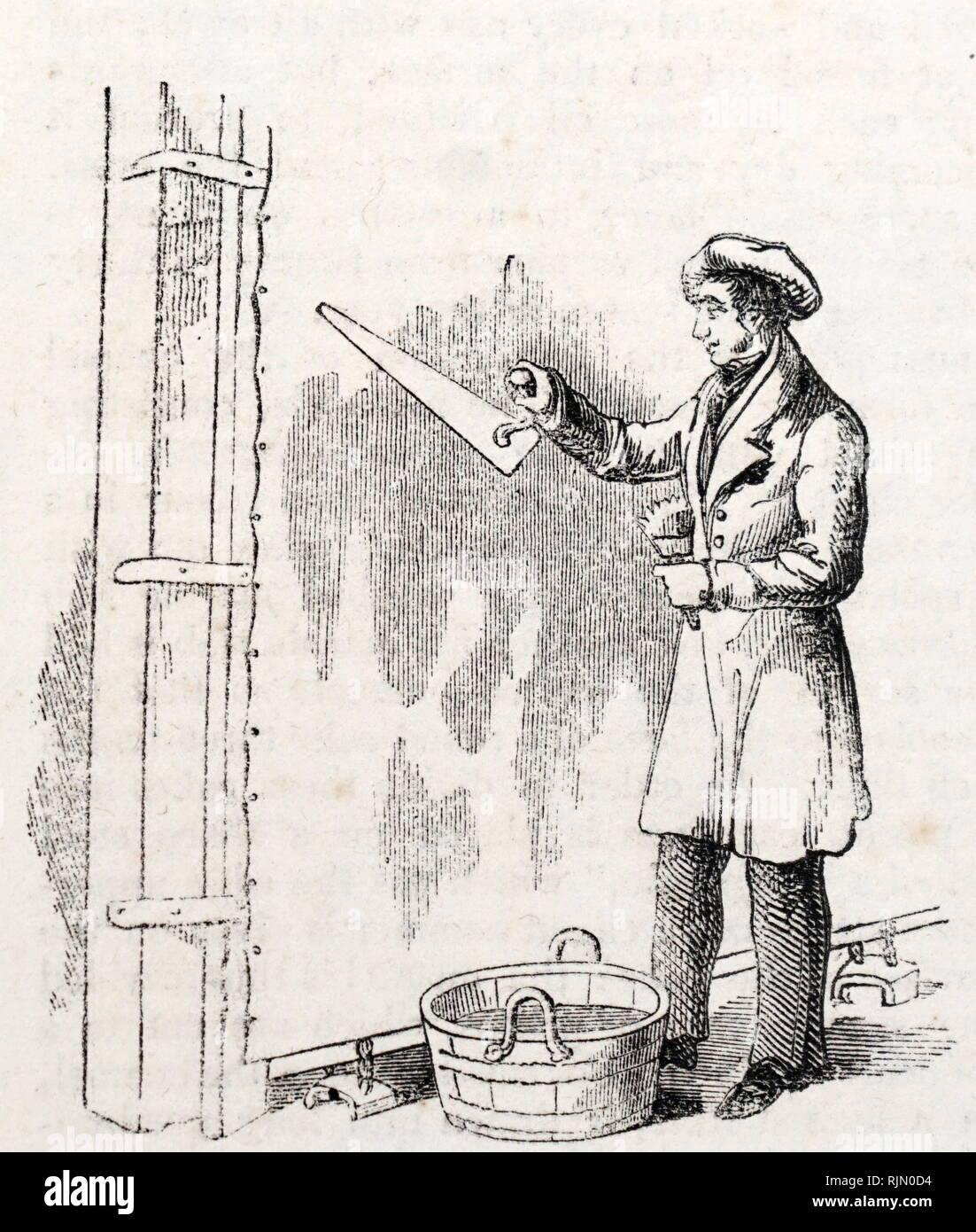 Ilustración que muestra la paleta Pintura de la subcapa en un paño de piso 1842 Imagen De Stock