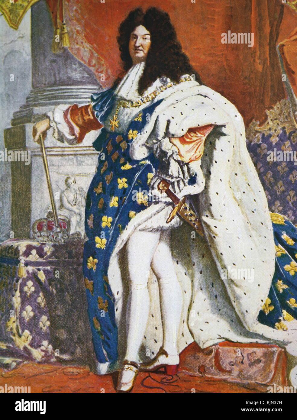 Ilustración mostrando el rey de Francia, Luis XIV (1638 - 1715) Foto de stock