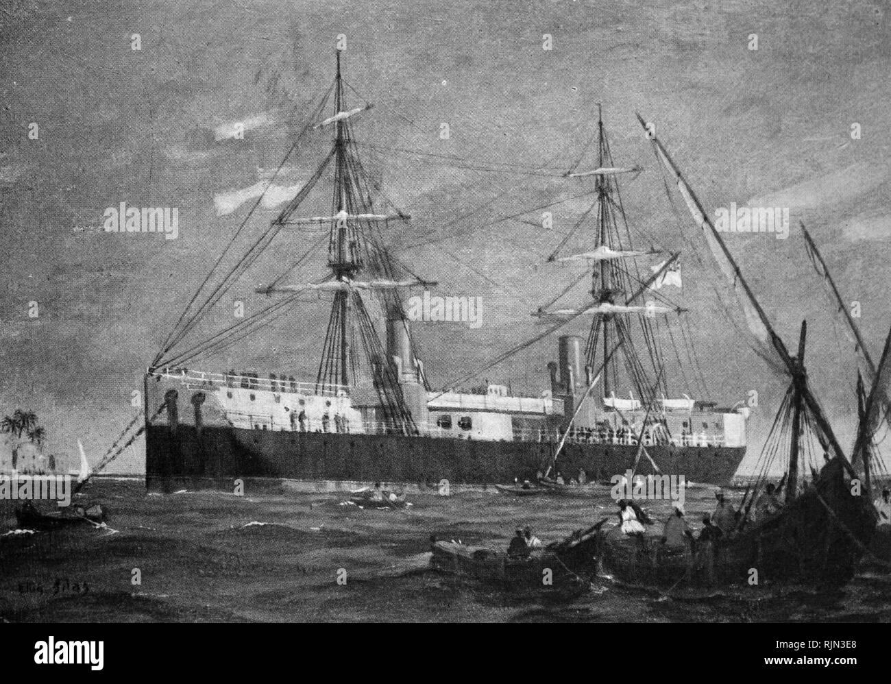 Ilustración que muestra la Royal Navy ship 'Inflexible' una torreta battleship 1876 Foto de stock