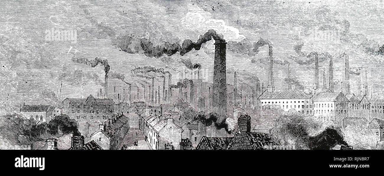 Un grabado representando Manchester visto desde el norte de Londres y el ferrocarril occidental. Fecha del siglo XIX Imagen De Stock