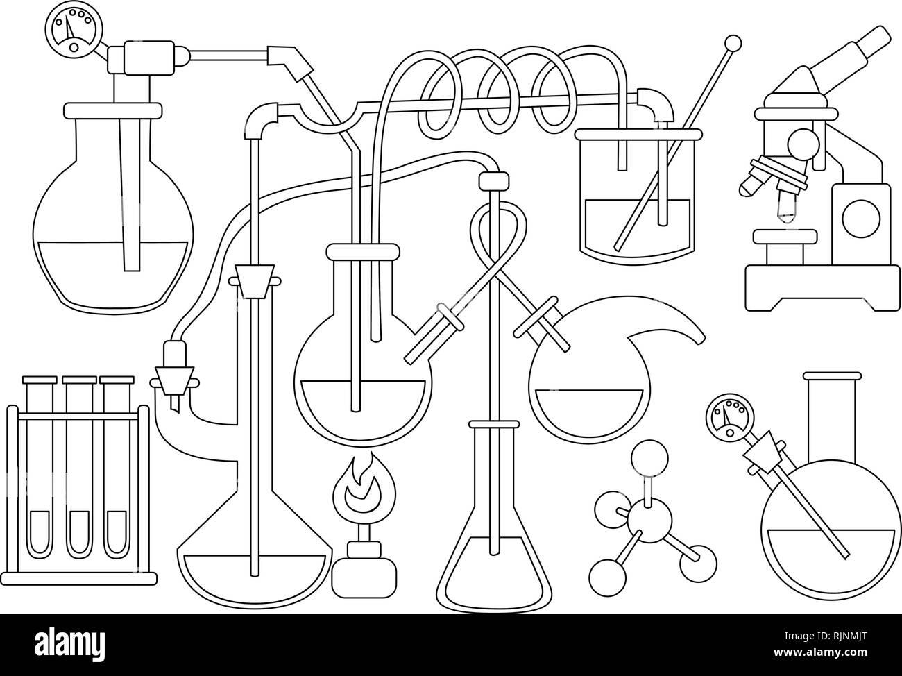 La Ciencia Y La Química Doodle De Fondo Libro Para Colorear