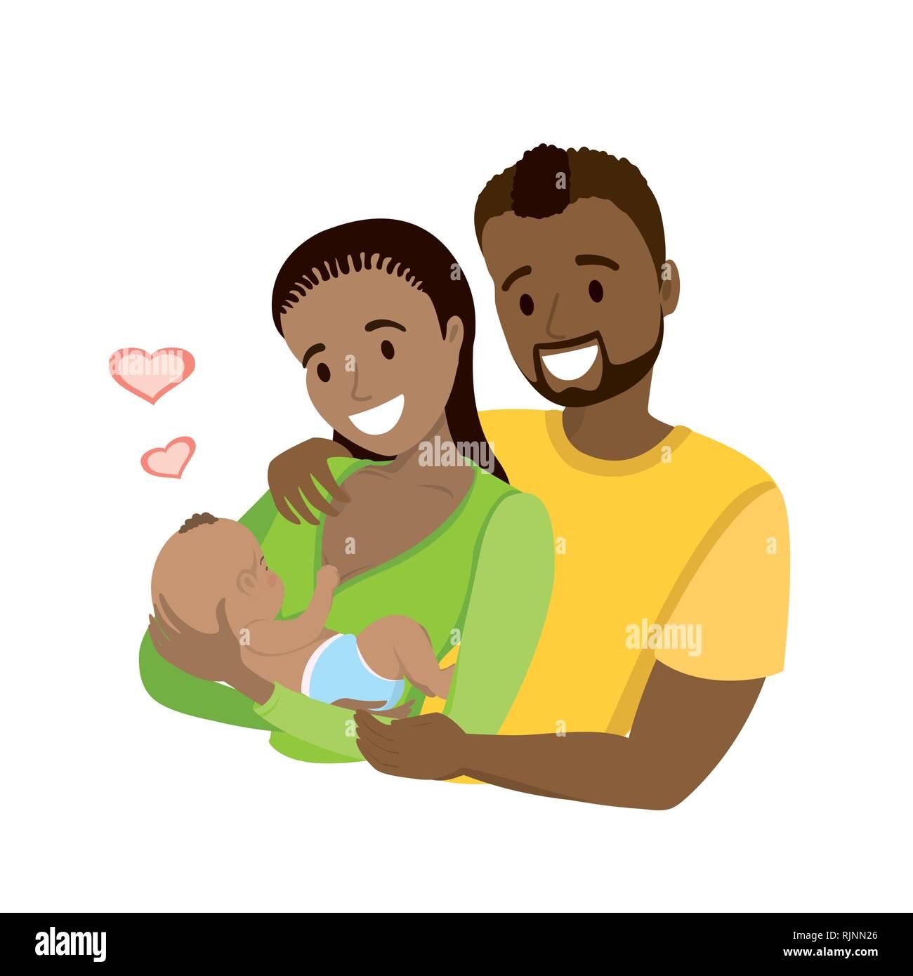 Ilustración de Personaje Femenino Con Bebé Recién Nacido En
