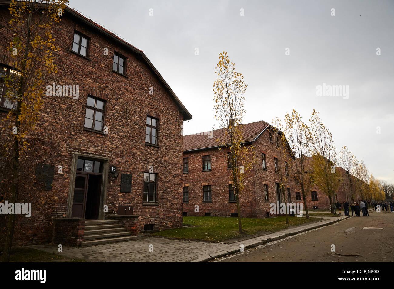 Auschwitz fue el más grande de la Alemania Nazi campos de concentración y centros de exterminio. Más de 1,1 millones de hombres, mujeres y niños perdieron la vida Foto de stock