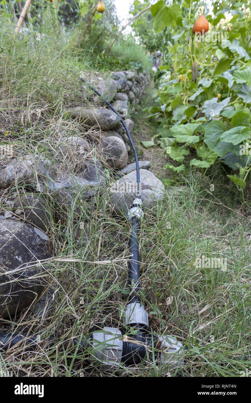 Sistema de riego en un huerto, Le Viel Audon, Ardèche, Francia Foto de stock