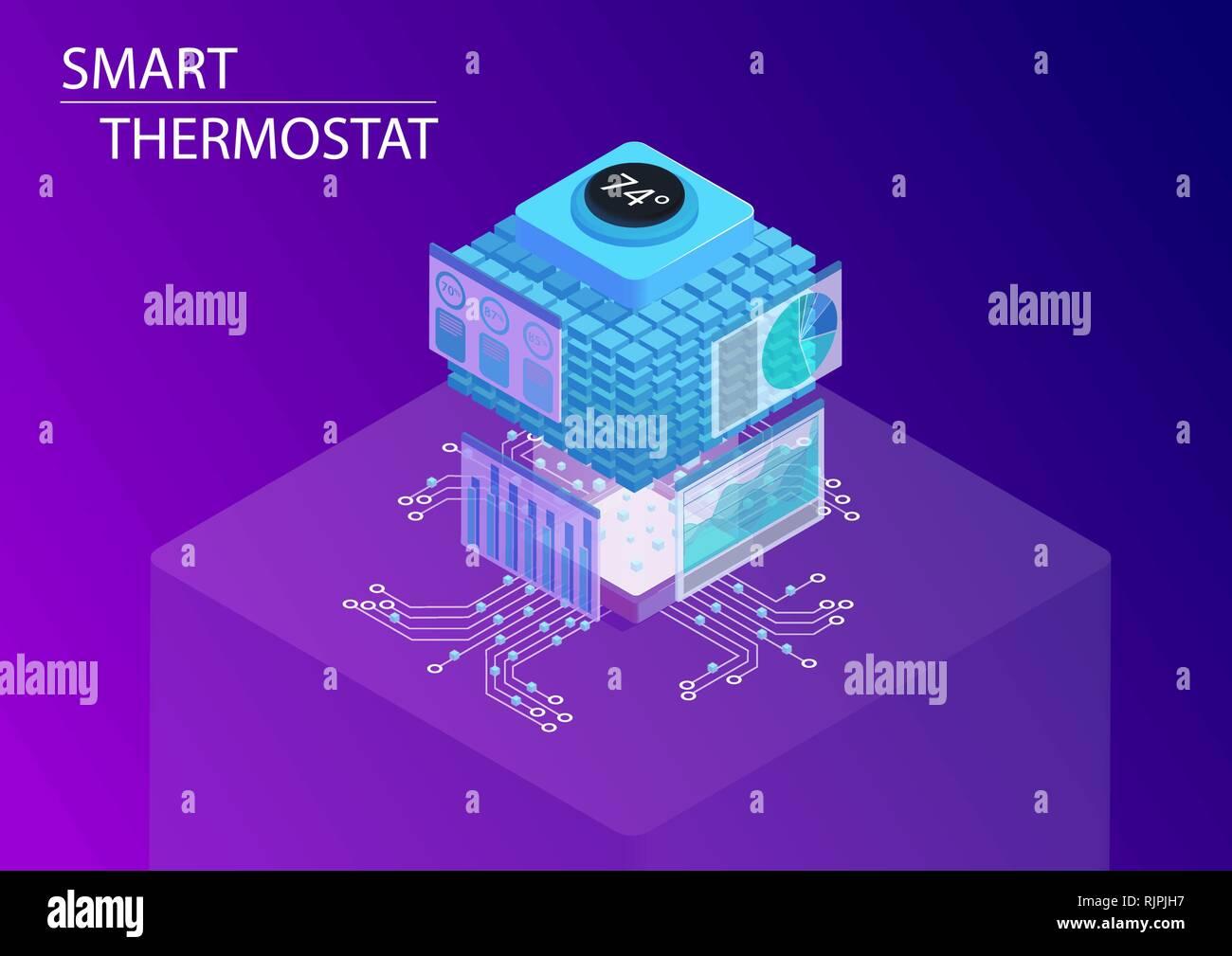 Hogar inteligente y termostato inteligente concepto. 3D isométrica ilustración vectorial. Ilustración del Vector