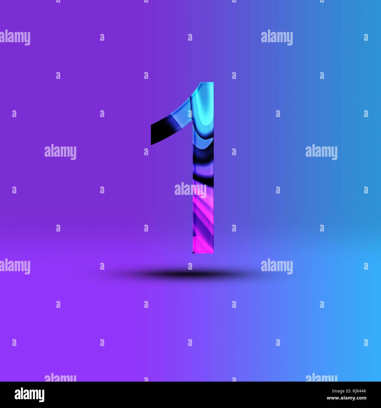 Ilustración número 1 . Ciberpunk synthwave creativa elementos de diseño. Aislado en el fondo. Imagen De Stock