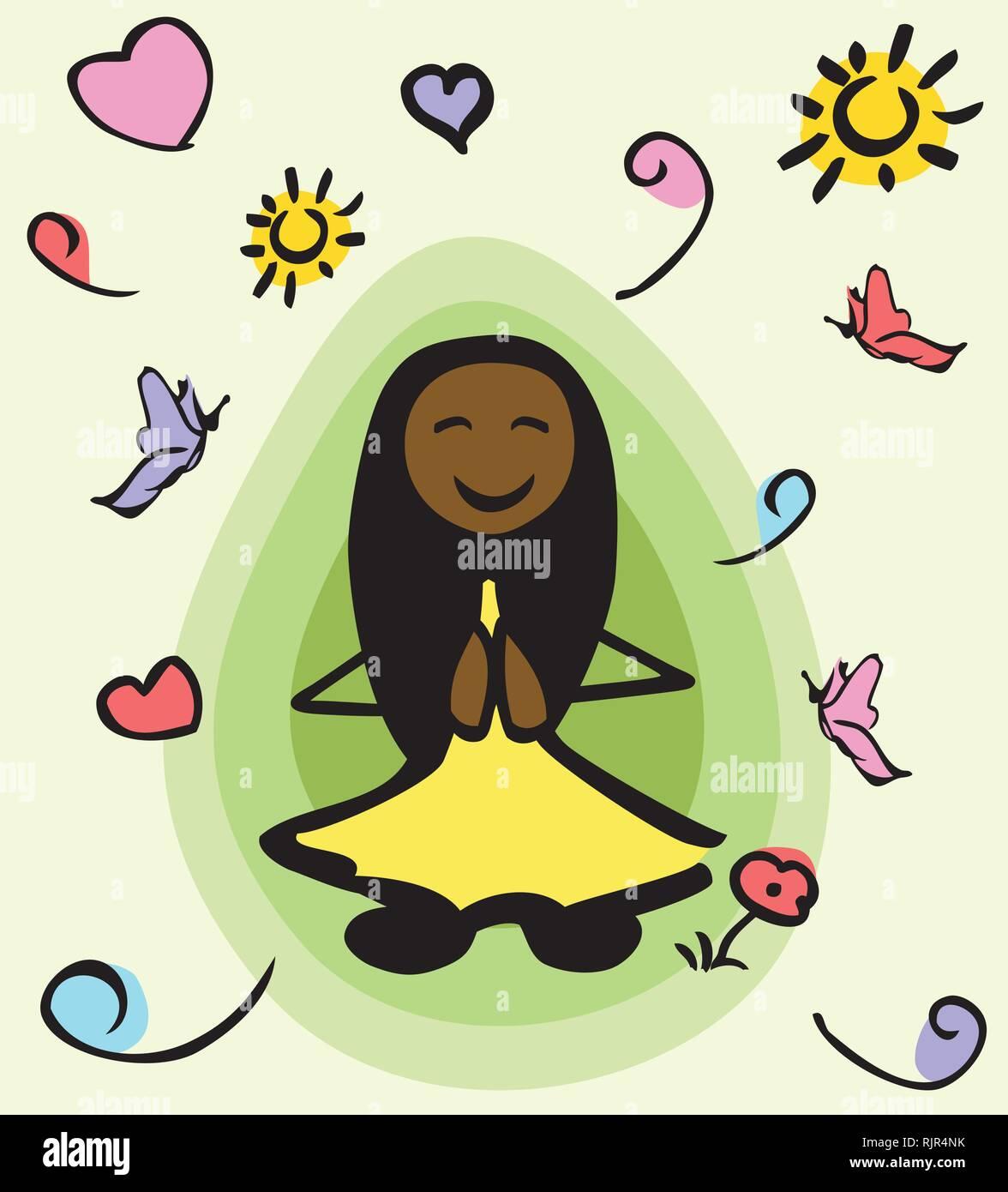 Mujer afroamericana stick persona sentada en la postura del loto y meditando. A su alrededor es un aura verde y positiv elementos. Imagen De Stock