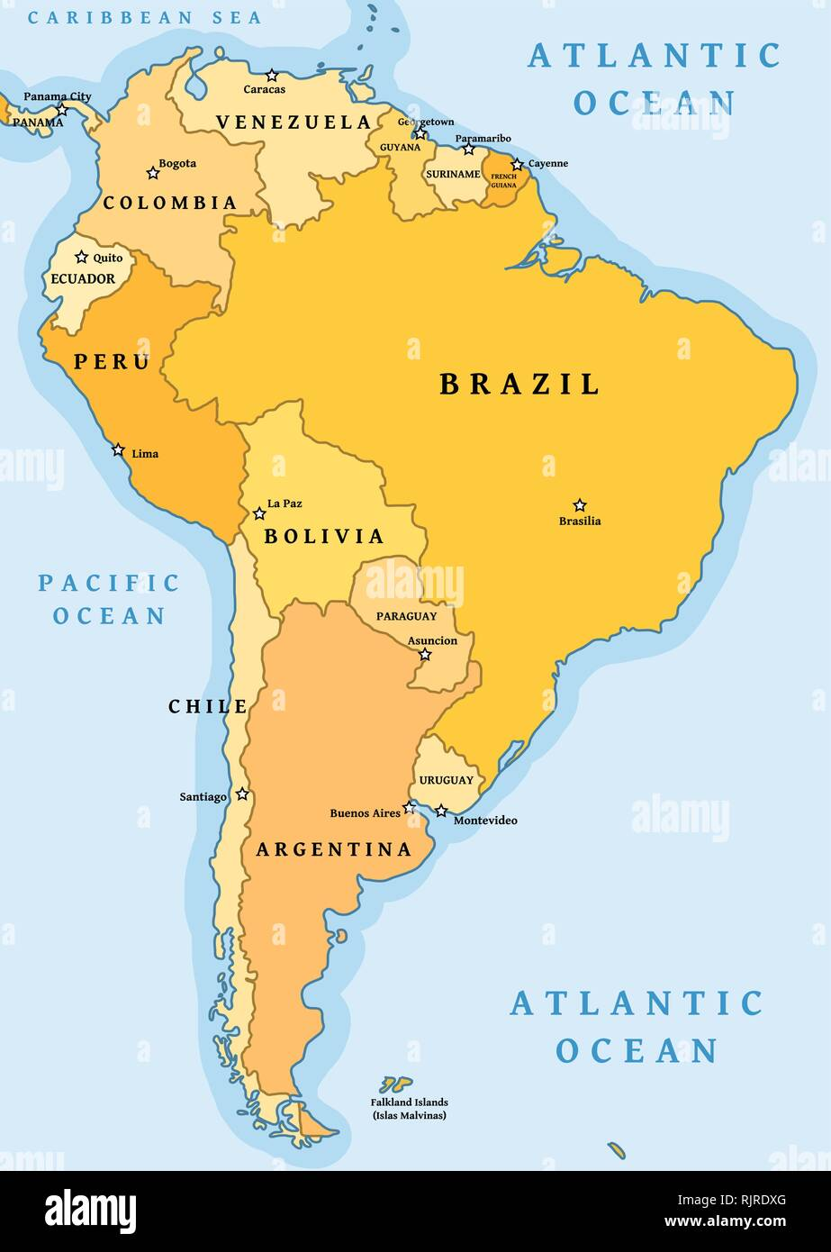 Mapa América Del Sur.America Del Sur La Division Politica Mapa Ilustracion